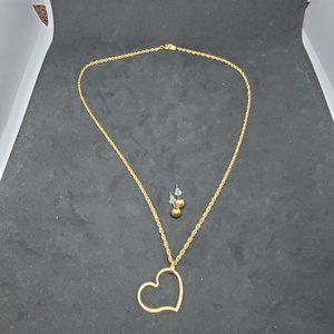 Jewelry - Gold Plated Cain Heart Necklace and Earrings Set 2
